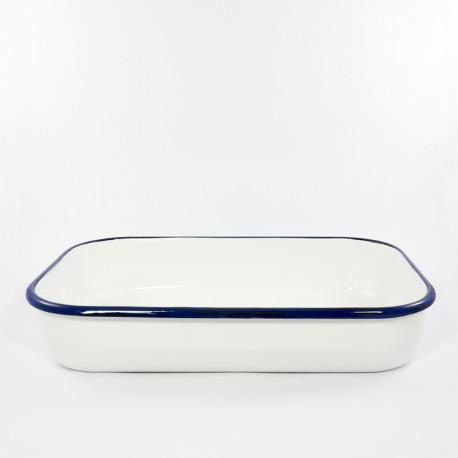 ovenschaal - HOLLAND - wit met een blauwe rand - 36cmx23cm -