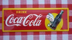 beschadigd - reclamebord - Coca Cola - 20x7cm