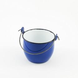 beschadigd - emaille - kookpotje - blauw - 750 ml