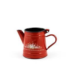 koffiekan - rood & bloemen - 750 ml