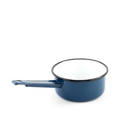 beschadigd - steelpannetje - waterblauw & spikkels - 600 ml