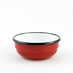 beschadigd - schaaltje/kom - rood & ribbel - laag model
