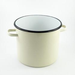 tweedehands -beschadigde - kookpan zonder deksel - créme - 7,5 liter