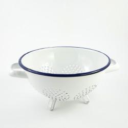 beschadigd - vergiet op pootjes - HOLLAND - wit met donkerblauwe rand - 22 cm