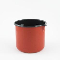 beschadigde - maatbeker/steelpan - rood & spikkeltjes - 1,5 liter