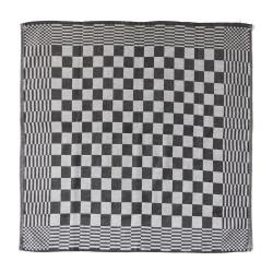 theedoek - ELIAS - zwart geblokt - 65 x 65 cm (zwart-wit)