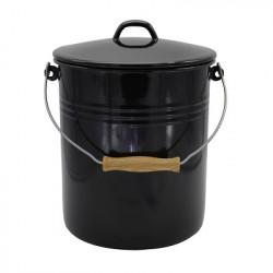 voorraademmer / prullenbak / luieremmer - DEN HAAG - zwart & creme - 12 liter - inclusief deksel