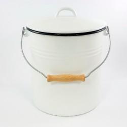 emmer - wit met zwarte rand - 5 liter - inclusief deksel