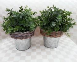 bloempot - zink & riet - groot (13 cm)