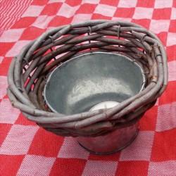 bloempot - zink & riet - klein (9 cm)